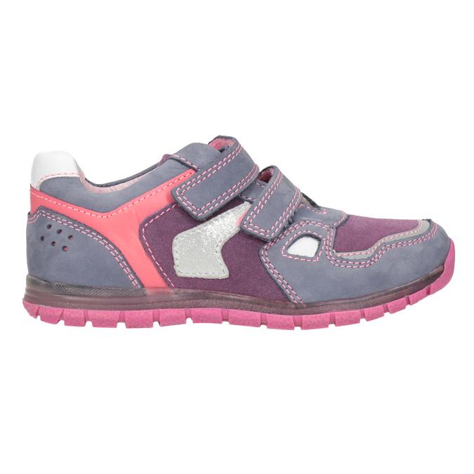 Skórzane trampki dziewczęce na rzepy mini-b, różowy, 223-9604 - 26
