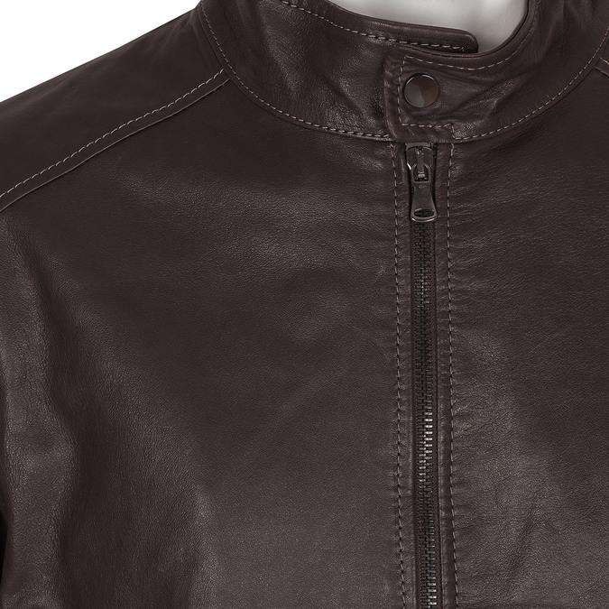 Ciemnobrązowa skórzana kurtka męska bata, brązowy, 974-4134 - 16