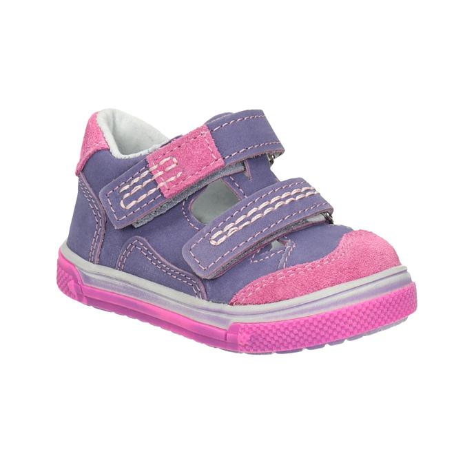 Skórzane buty dziecięce na rzepy bubblegummer, fioletowy, 126-9601 - 13