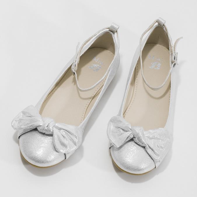 Srebrne baleriny dziewczęce zkokardami mini-b, srebrny, 329-1227 - 16