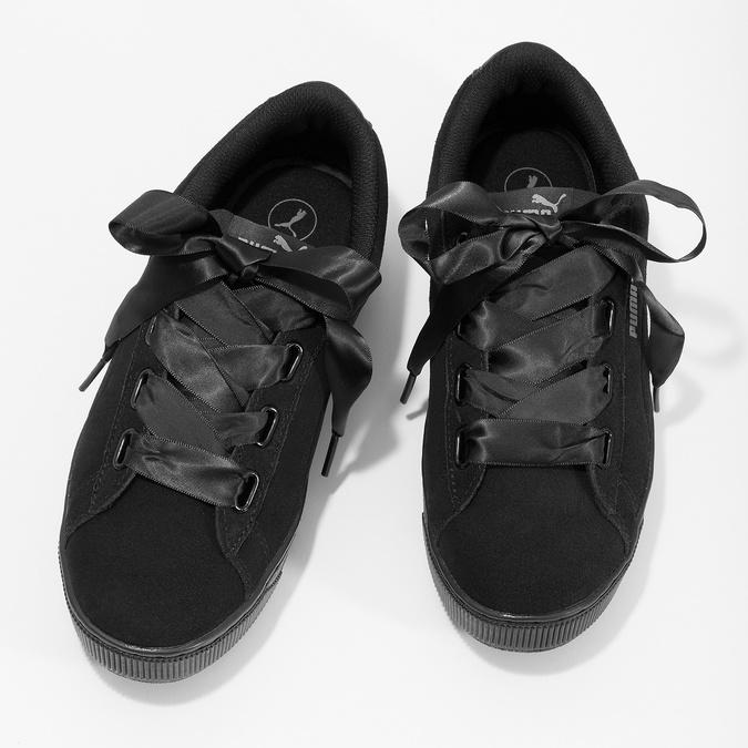 Czarne skórzane trampki na platformie, ze wstążkami puma, czarny, 503-6737 - 16