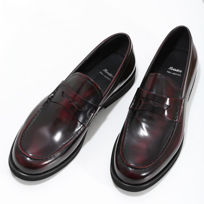 Skórzane mokasyny męskie oczerwonym połysku bata, czerwony, 814-5177 - 16