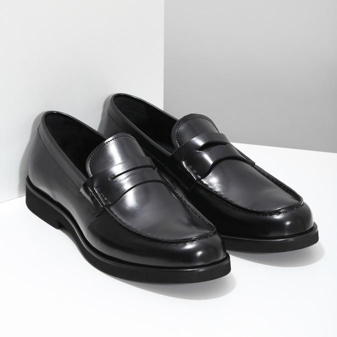Czarne skórzane mokasyny męskie bata, czarny, 814-6177 - 26