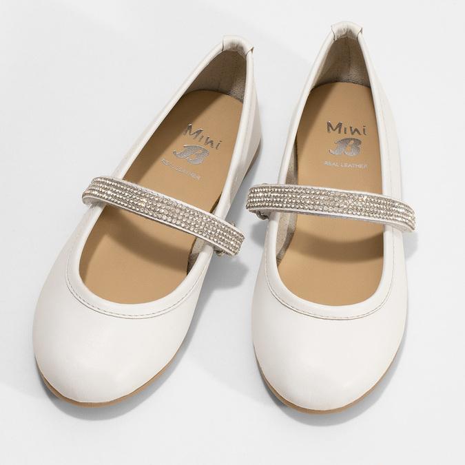 Białe skórzane baleriny dziewczęce zpaskiem zkryształków mini-b, biały, 324-1272 - 16