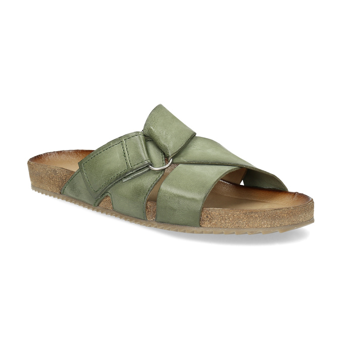Skórzane klapki wkolorze khaki bata, khaki, 866-7647 - 13