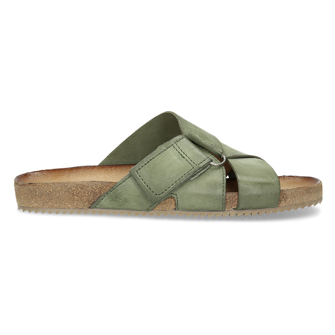 Skórzane klapki wkolorze khaki bata, khaki, 866-7647 - 19
