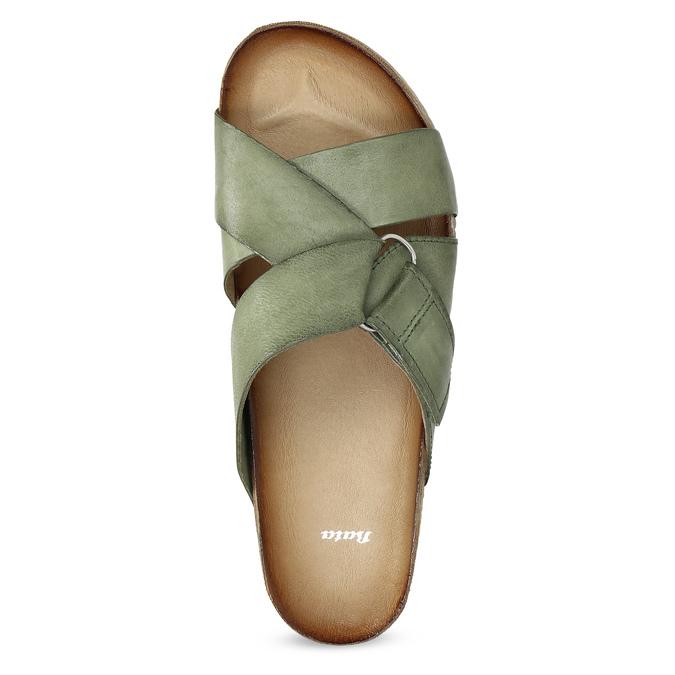 Skórzane klapki wkolorze khaki bata, khaki, 866-7647 - 17