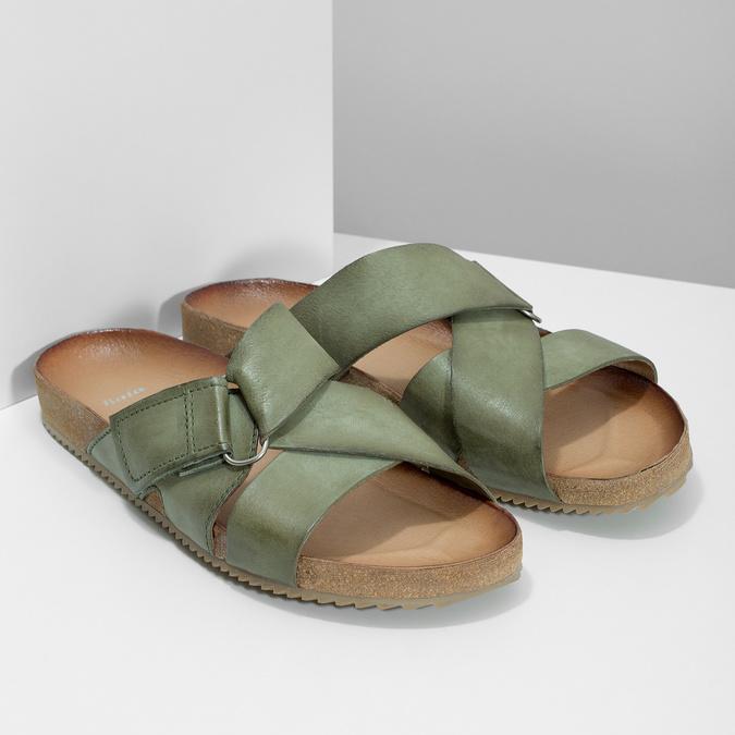 Skórzane klapki wkolorze khaki bata, khaki, 866-7647 - 26