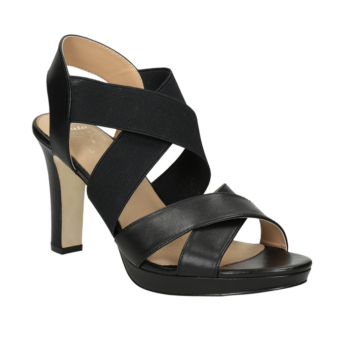 Czarne skórzane sandały na obcasach, zelastycznymi paskami insolia, czarny, 766-6606 - 13
