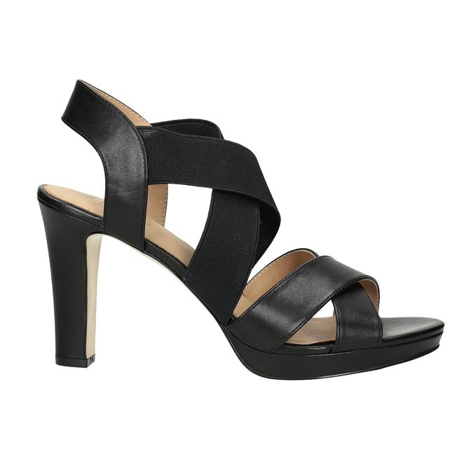 Czarne skórzane sandały na obcasach, zelastycznymi paskami insolia, czarny, 766-6606 - 16