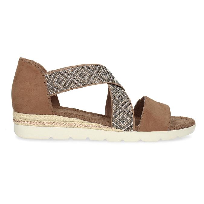 Brązowe sandały zwzorem bata, czarny, 569-6616 - 19