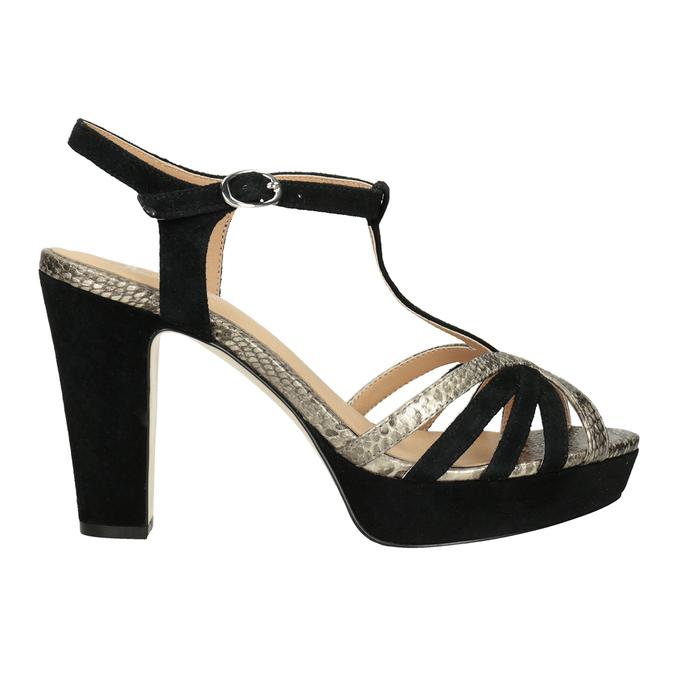 Czarno-złote skórzane sandały na obcasach insolia, czarny, 766-6605 - 16
