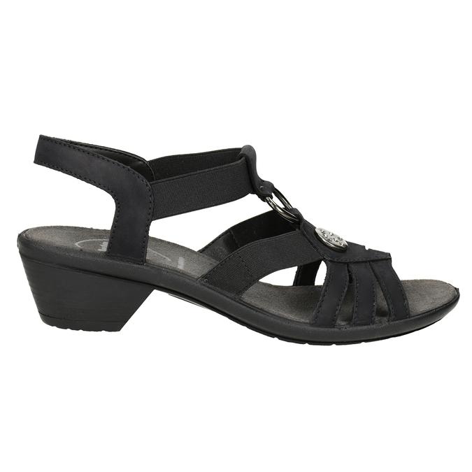 Czarne skórzane sandały damskie comfit, czarny, 666-6619 - 16