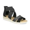 Czarno-srebrne sandały damskie bata, czarny, 569-6608 - 13