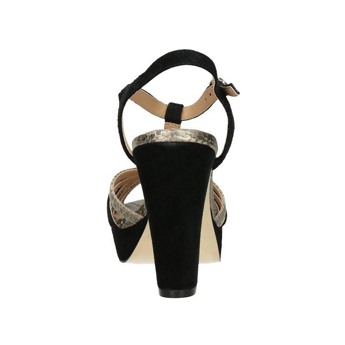 Czarno-złote skórzane sandały na obcasach insolia, czarny, 766-6605 - 15