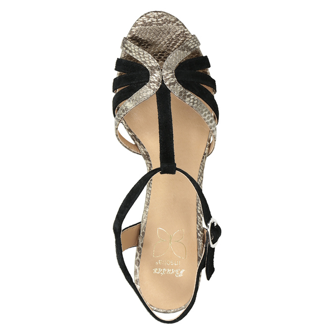 Czarno-złote skórzane sandały na obcasach insolia, czarny, 766-6605 - 17