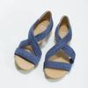 Niebieskie skórzane sandały na koturnach bata, niebieski, 563-9600 - 16