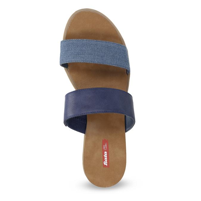 Granatowe klapki damskie na niskich koturnach bata-red-label, niebieski, 561-9609 - 17