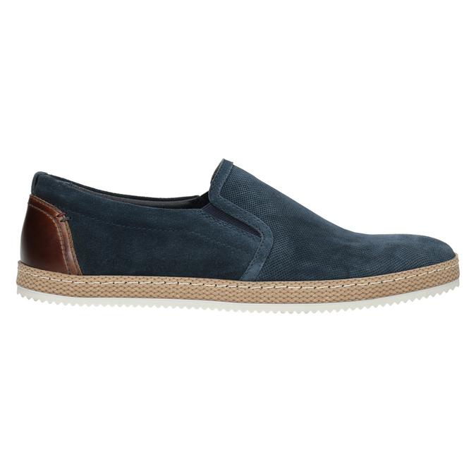 Granatowe zamszowe slip-on męskie bata, niebieski, 833-9602 - 26