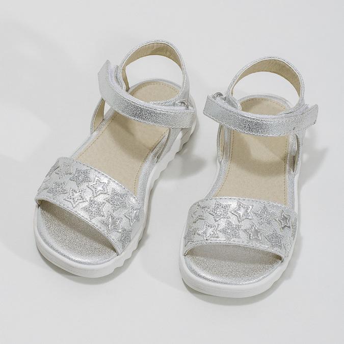 Srebrne sandały dziewczęce zgwiazdkami mini-b, biały, 261-1211 - 16