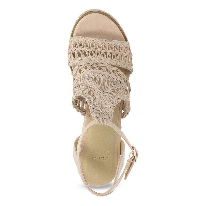 Wyplatane sandały na platformie bata, różowy, 759-8633 - 17