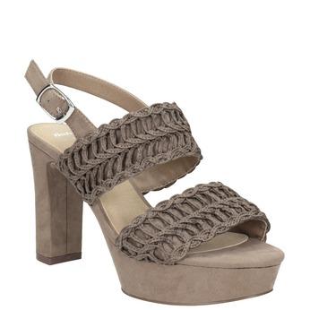 Sandały damskie na stabilnych słupkach, zwyplatanym wzorem bata, brązowy, 769-3634 - 13