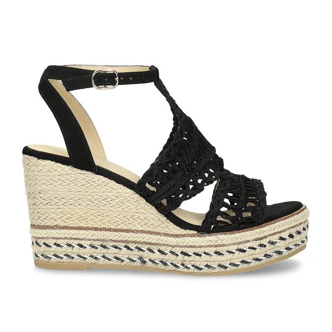Czarne wyplatane sandały na platformie bata, czarny, 759-6633 - 19