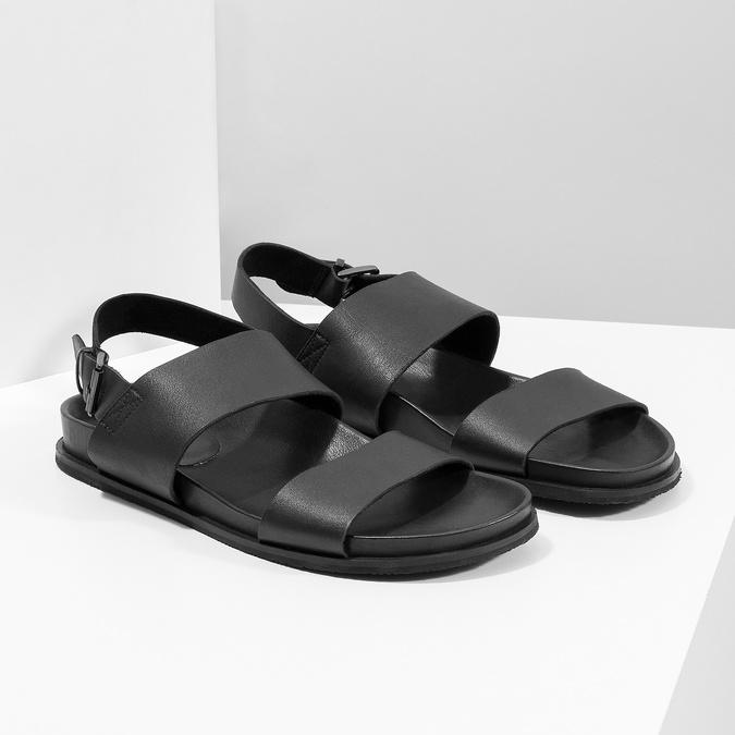 Czarne minimalistyczne sandały męskie ze skóry bata, czarny, 866-6638 - 26