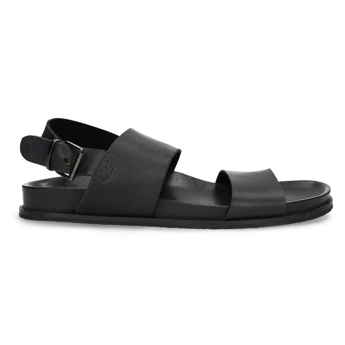 Czarne minimalistyczne sandały męskie ze skóry bata, czarny, 866-6638 - 19