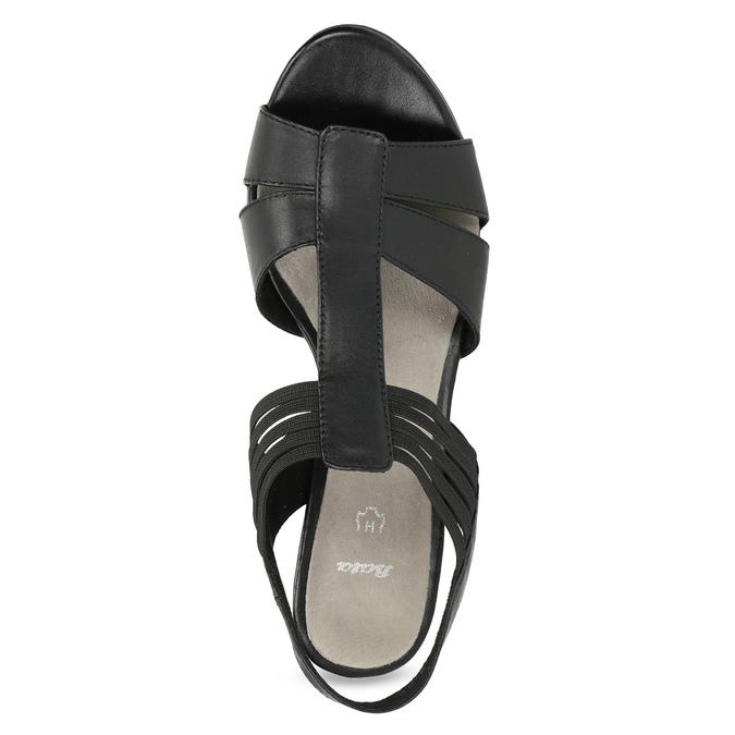 Skórzane sandały na obcasach, oszerokościH bata, czarny, 664-6610 - 17