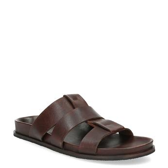 Brązowe minimalistyczne klapki męskie ze skóry bata, brązowy, 866-4639 - 13