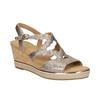 Złote skórzane sandały na platformie gabor, złoty, 766-8043 - 13