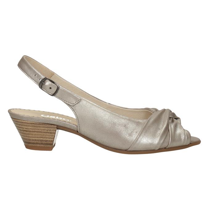 Skórzane sandały na stabilnych obcasach, oszerokościH gabor, złoty, 666-8020 - 26