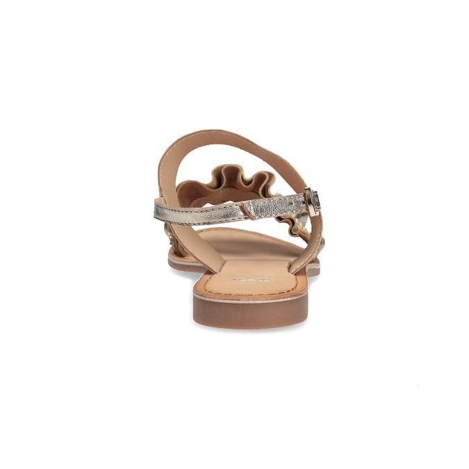 Złote skórzane sandały zperełkami bata, złoty, 566-8632 - 15