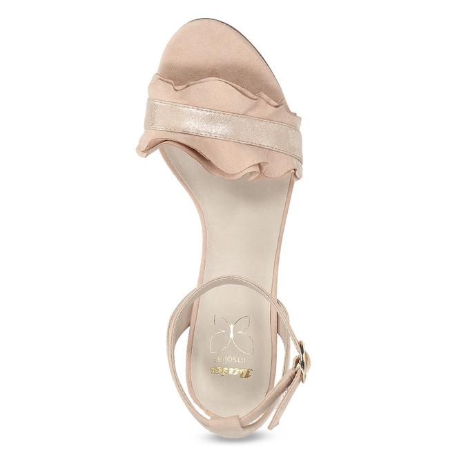 Różowe sandały zfalbanką, na szpilkach insolia, różowy, 769-5619 - 17