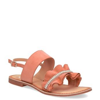 Różowe skórzane sandały damskie zperełkami bata, różowy, 566-5632 - 13