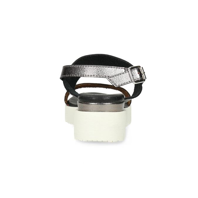 Czarno-srebrne sandały damskie na platformie bata, czarny, 661-6614 - 15