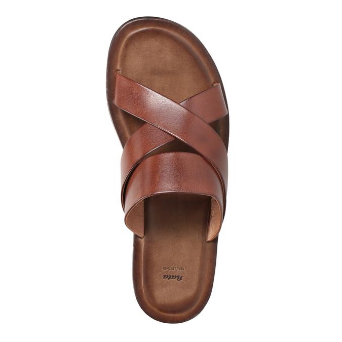Brązowe skórzane klapki męskie ze skrzyżowanymi paskami bata, brązowy, 866-3603 - 17