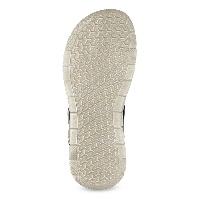 Szare skórzane sandały na rzepy bata, szary, 866-4640 - 18