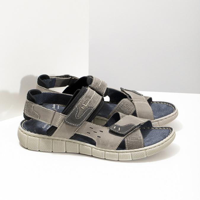 Szare skórzane sandały na rzepy bata, szary, 866-4640 - 16