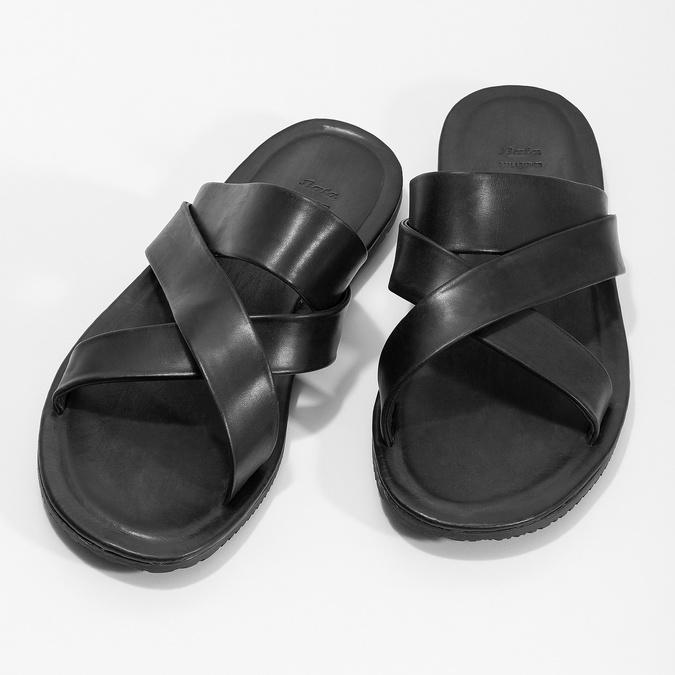 Czarne skórzane klapki męskie ze skrzyżowanymi paskami bata, czarny, 864-6603 - 16