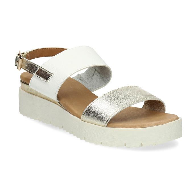 Sandały damskie ze złotymi paskami, na platformie bata, biały, 661-1614 - 13