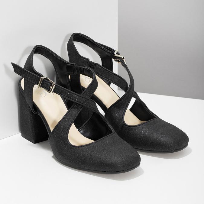 Czarne sandały damskie zbrokatem, na obcasach insolia, czarny, 726-6653 - 26