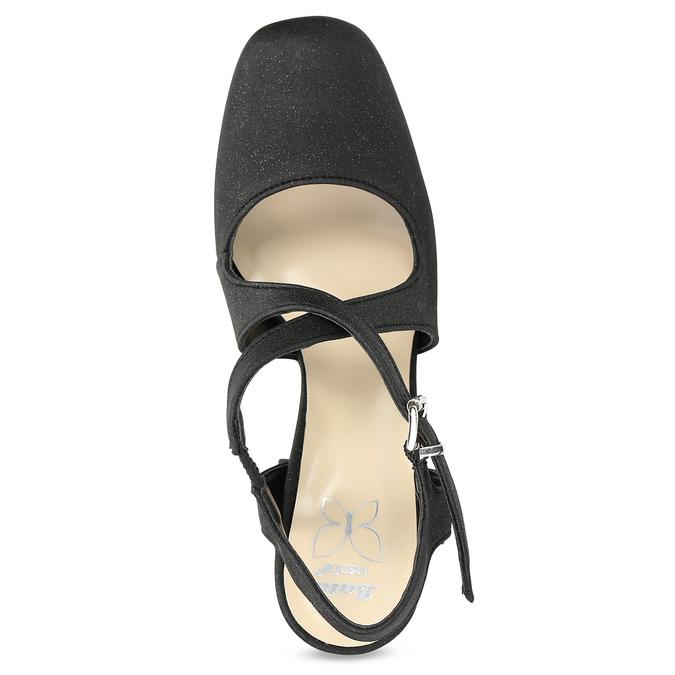 Czarne sandały damskie zbrokatem, na obcasach insolia, czarny, 726-6653 - 17