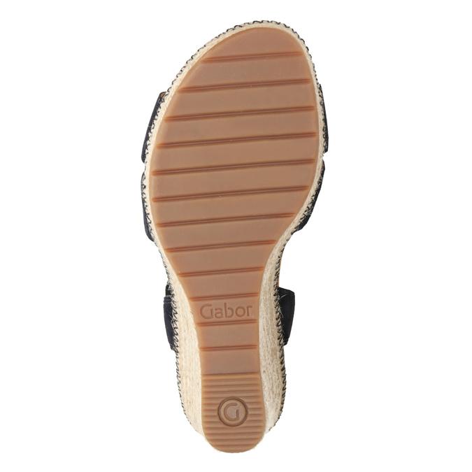 Granatowe skórzane sandały na koturnach gabor, niebieski, 763-9013 - 17