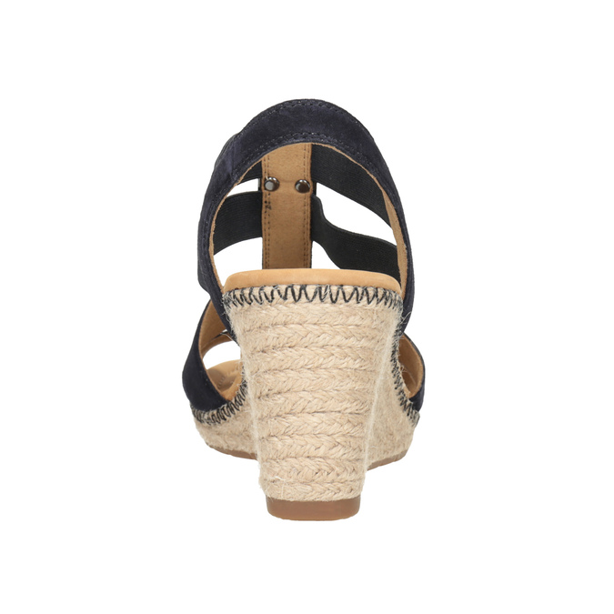 Granatowe skórzane sandały na koturnach gabor, niebieski, 763-9013 - 16