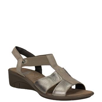 Skórzane sandały na koturnach comfit, brąz, 666-8620 - 13
