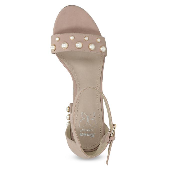 Sandały damskie zperełkami, na słupkach insolia, różowy, 769-5623 - 17