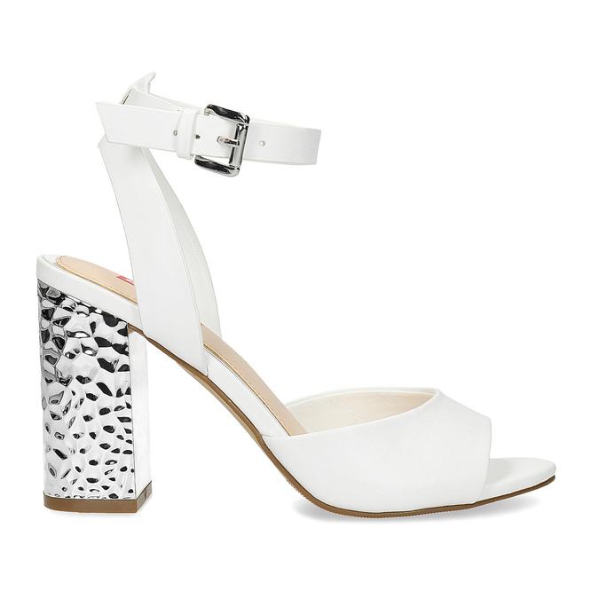 Białe sandały na srebrnych słupkach, 761-5619 - 19