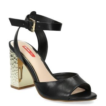 Czarne sandały na złotych słupkach, czarny, 761-6619 - 13